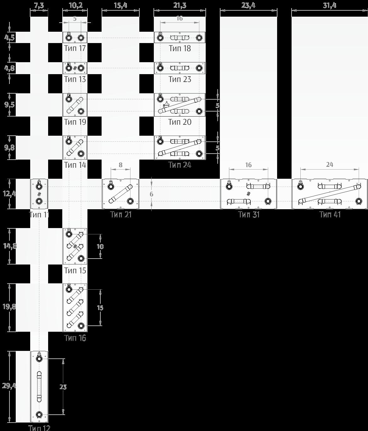 Таблица типоразмеров теплообменников Dafa