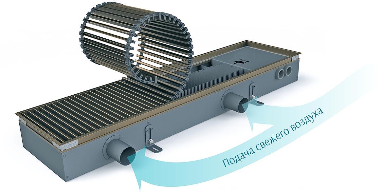 Внутрипольный конвектор Dafa с фланцами вентиляции